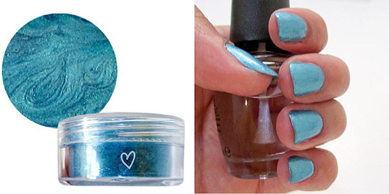 9. А самими тенями можно покрасить ногти - сначала нанесите тени, потом закрепите их бесцветным лако