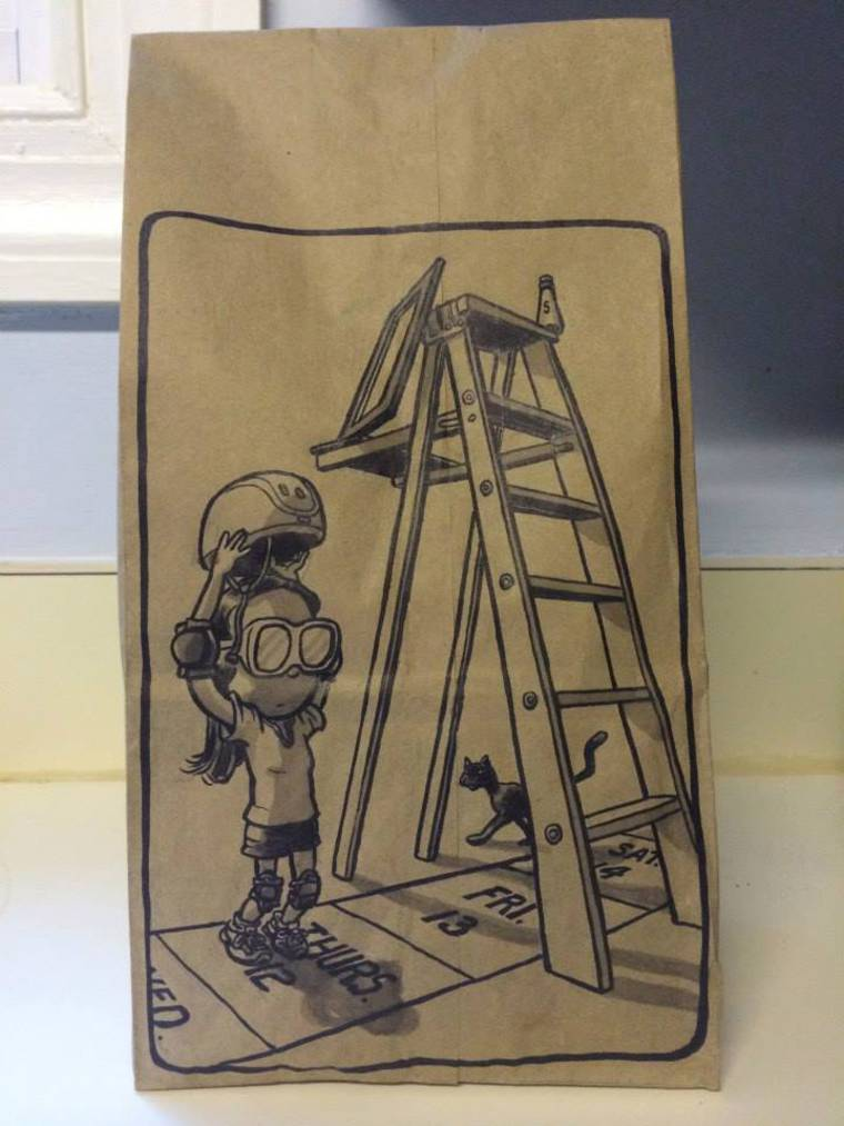 Lunch Bag Art - A creative dad draws each day for the meal of his daughter