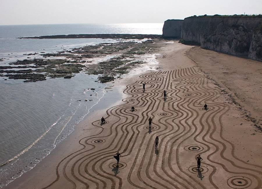 Brilliant Sand Drawings by Sam Dougados
