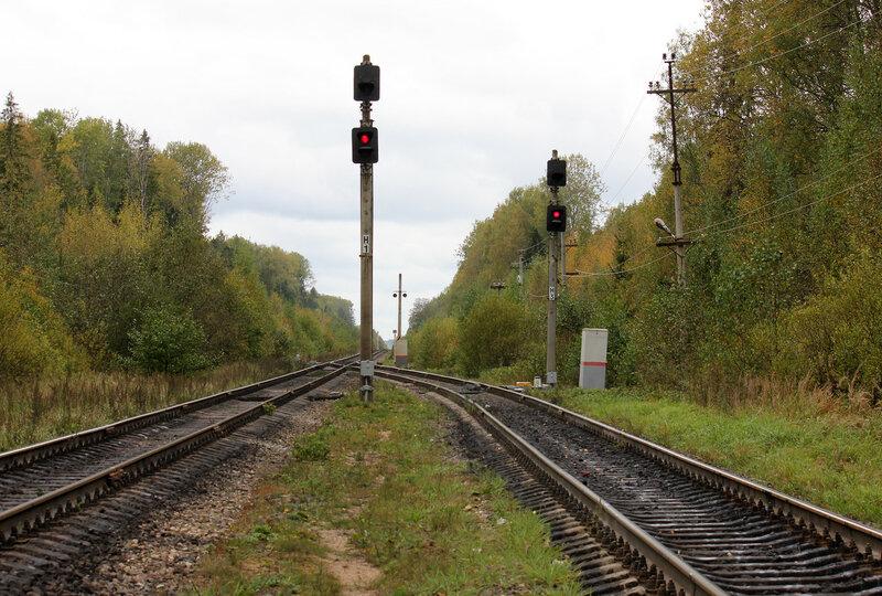 Нечётные выходные светофоры станции Подсосенка Н1 и Н3, вид на Великие луки