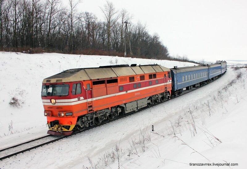 ТЭП70-0551 с поездом Поезд 067Б Саратов — Брест. Перегон Дищня - Залегощь
