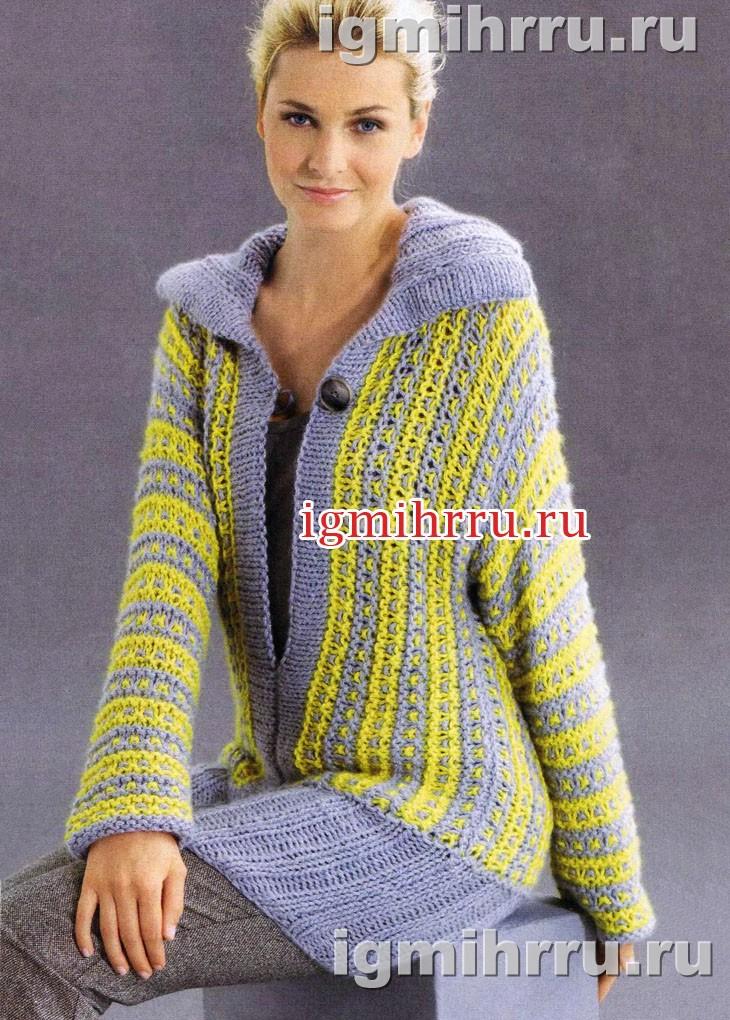 Удлиненный пуловер с узором из снятых петель. Вязание спицами