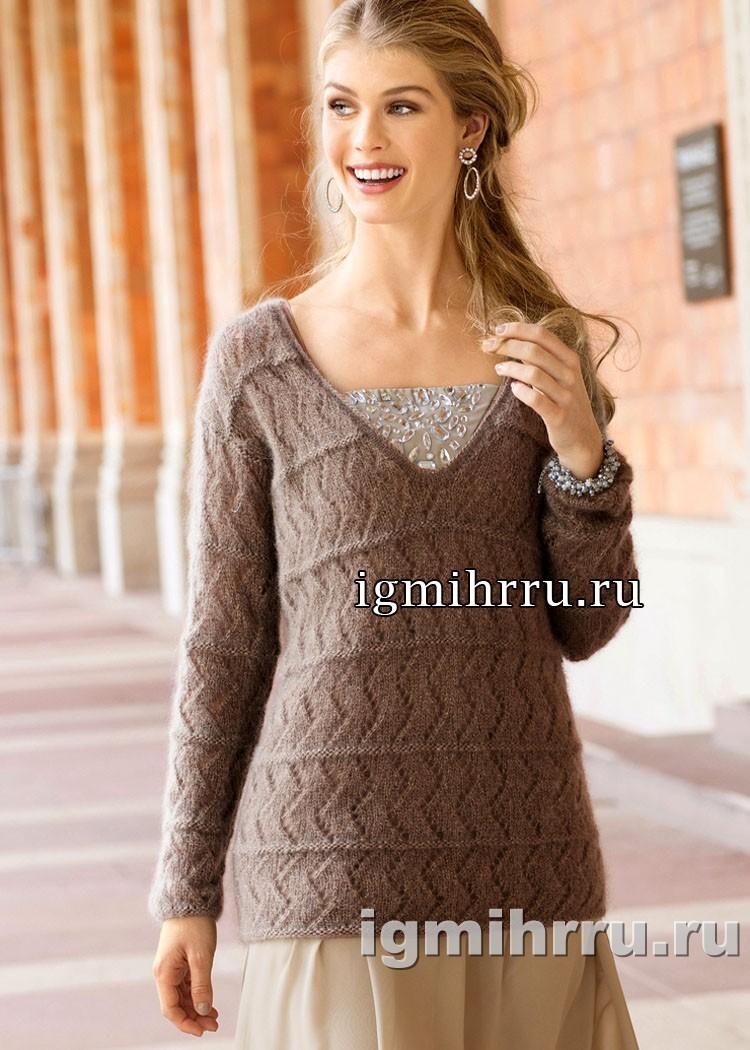 Мохеровый пуловер с зубчатым узором. Вязание спицами