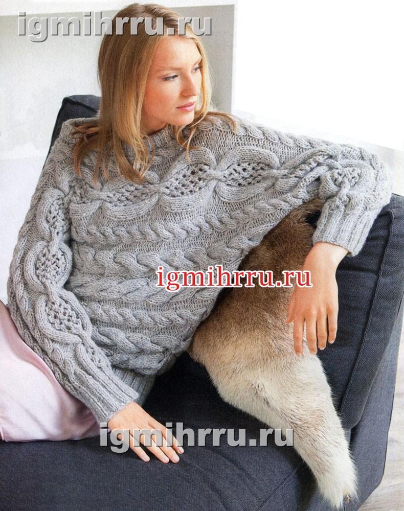 Теплый пуловер-кимоно с ажурным узором и косами. Вязание спицами