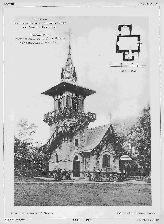 1899. Водокачка в парке Принца Ольденбургского в Старом Петергофе
