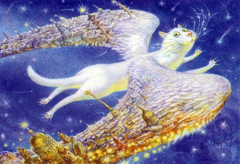 Священники шутят. Коты и ангелы художника Владимира Румянцева. С Новым годом, друзья!