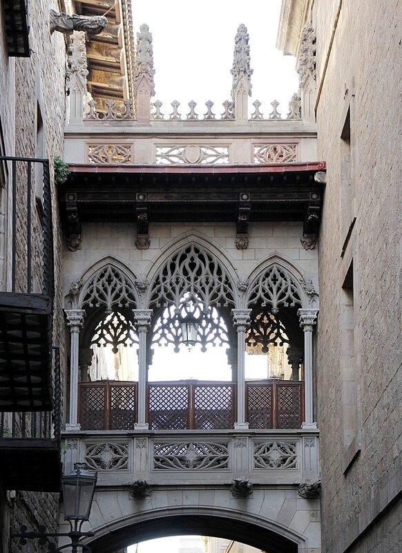 Barcelona. The Gothic bridge (Pont Gòtic)