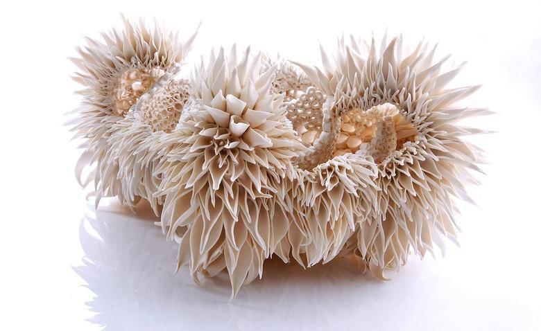У одних скульптур миниатюрные лепестки-тычинки, у других цветастые широколистные клубни, у третьих —
