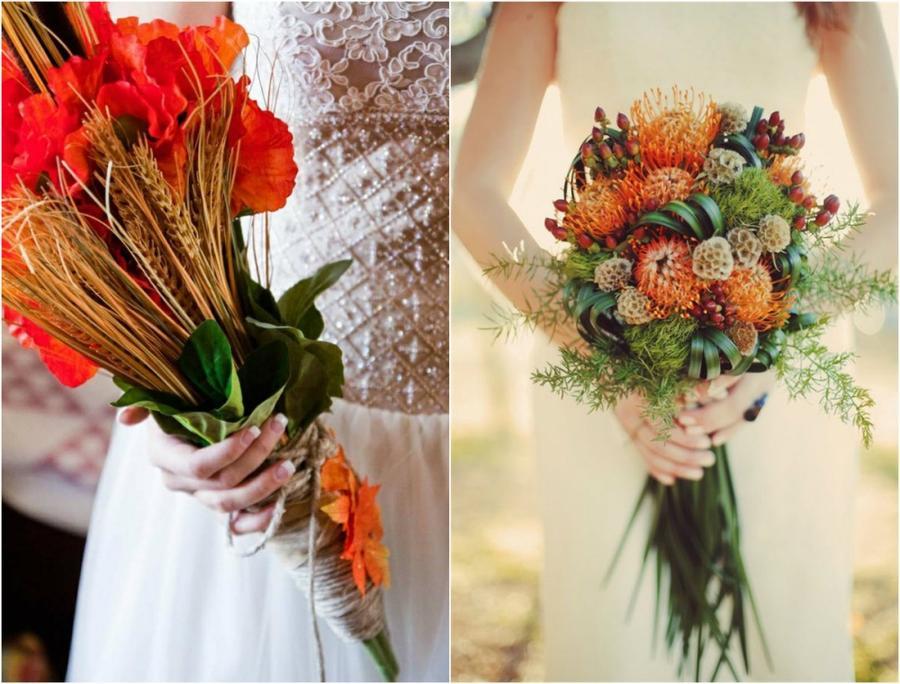 9. Лесная фантазия Украсить свадебный букет помогут даже колосья и сухоцветы.