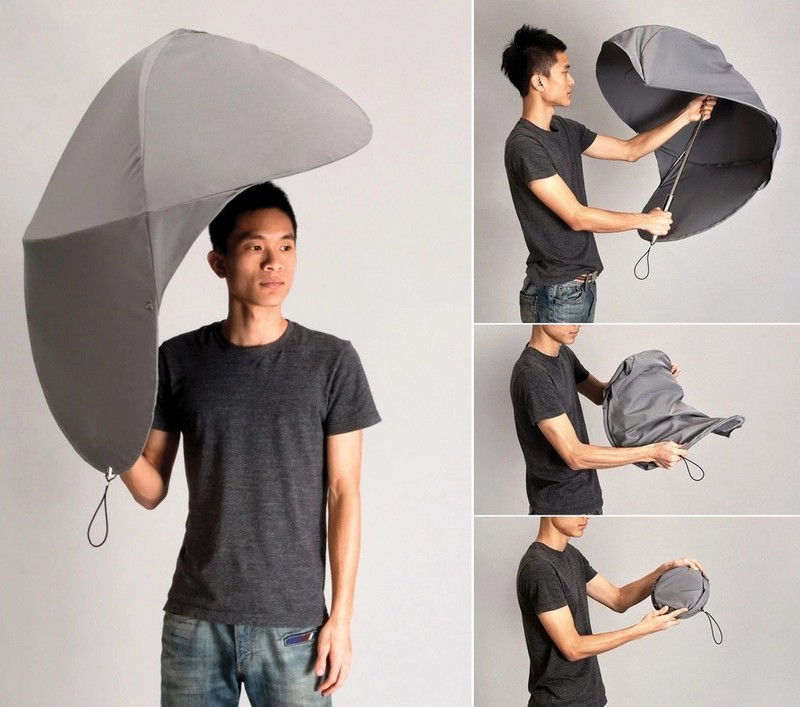 10. Зонт-щит Компактный зонт с тросом вместо спиц, который защитит от дождя, ветра и брызг.