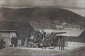 Турецкая оборона Босфора. Установка двухдюймовой мортиры батареи Маджар-тепе