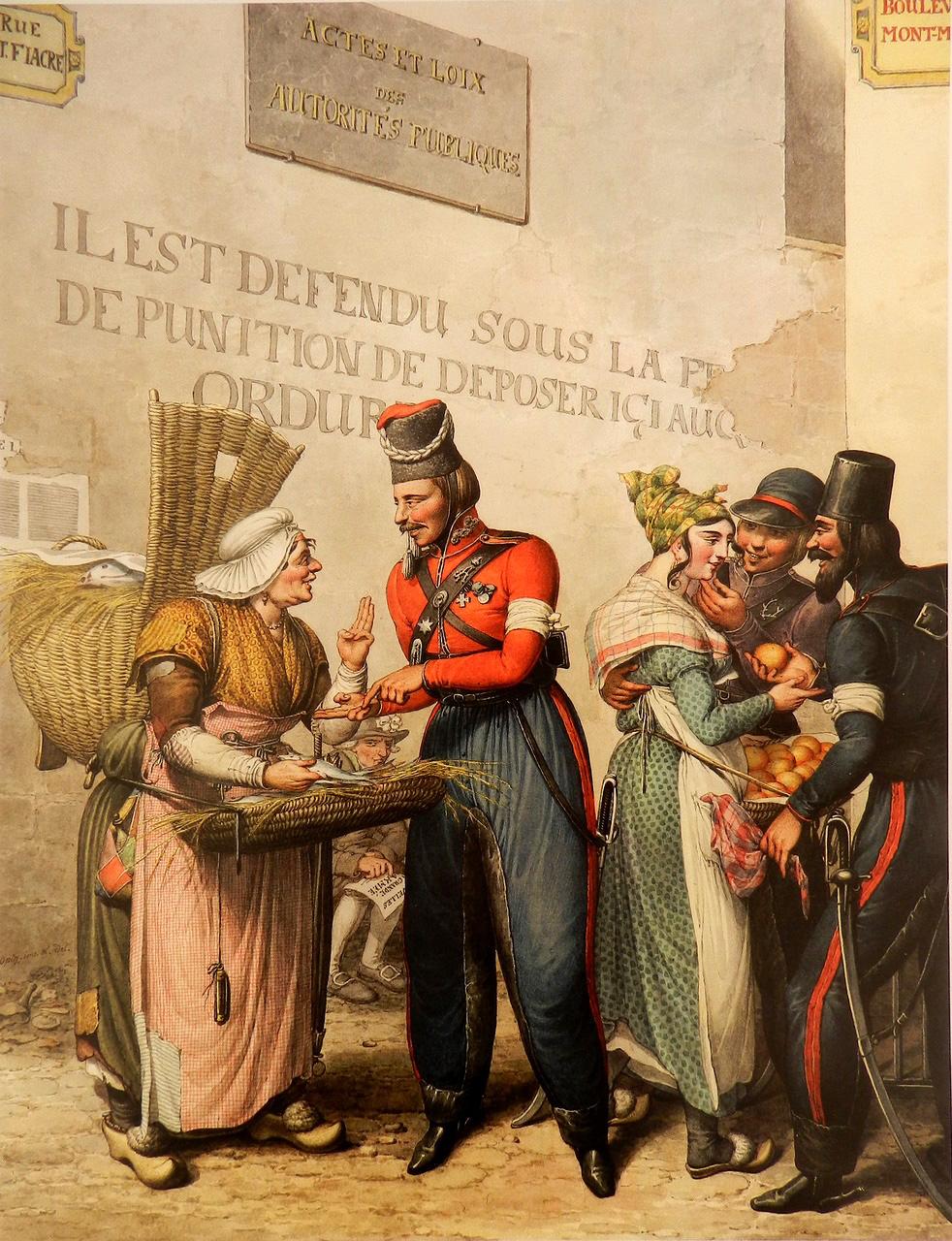 11. Уличная сценка: казаки и торговки рыбой и яблоками