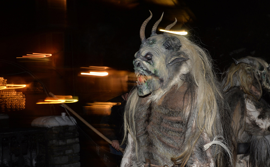 A man dressed as a Krampus, the companion of St. Nicholas and one of Austria's unique Advent tra