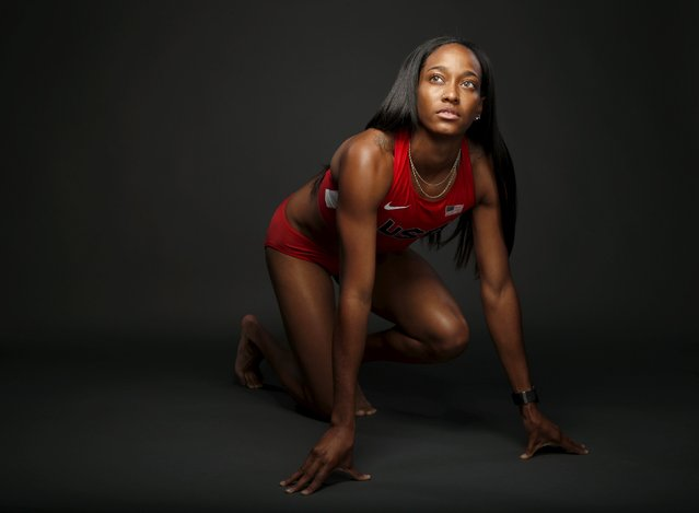 Runner English Gardner poses for a portrait at the U.S. Olympic Committee Media Summit in Beverly Hi