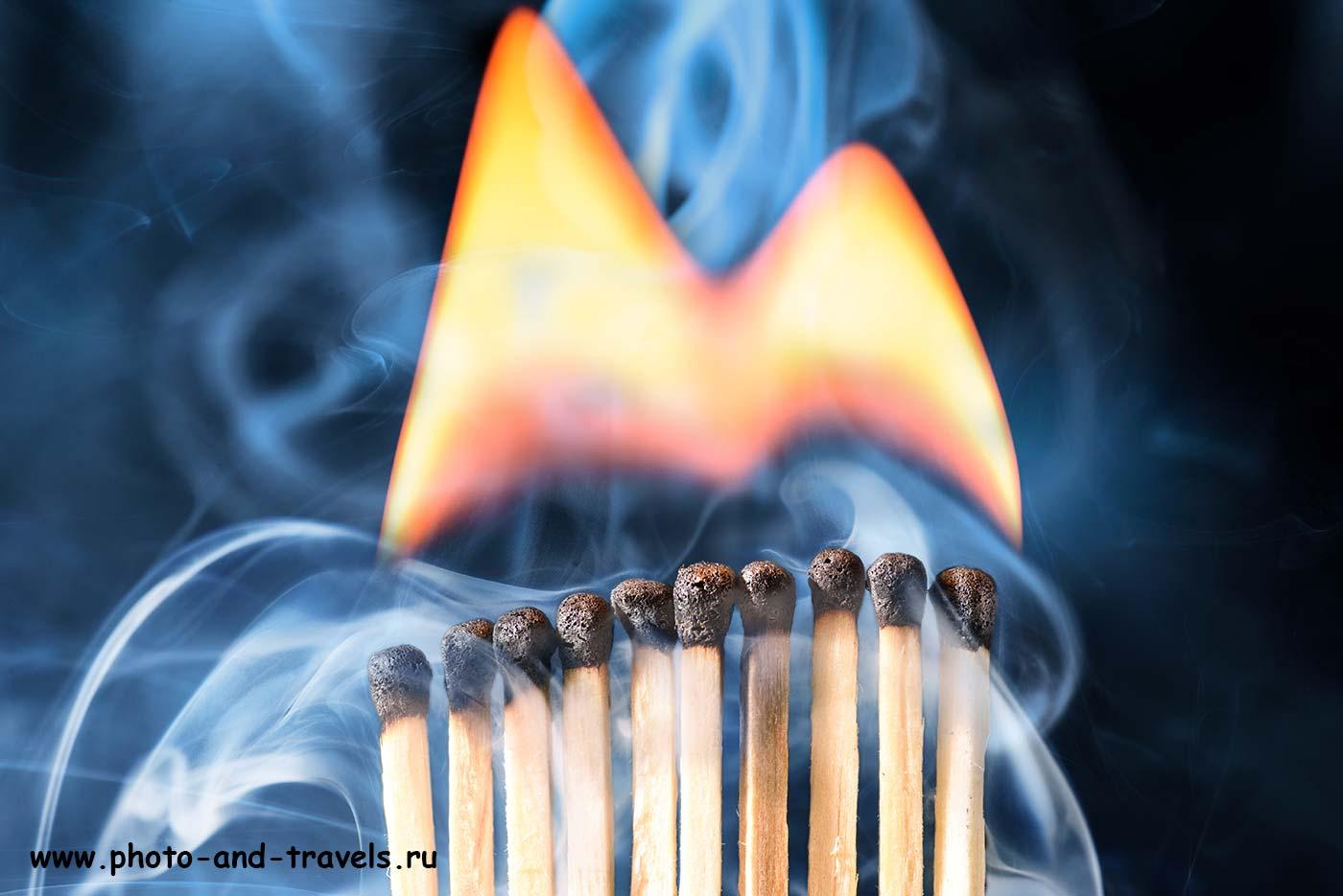 Фотография 23. Элегантный портрет горящих спичек. Зачем нужен макрообъектив Tamron 90/2.8.