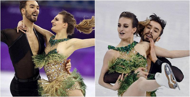 Французская фигуристка засветила грудь во время выступления на Олимпиаде