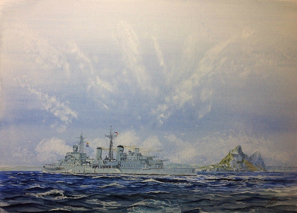 """Pillars of Hercules. Cruiser HMS BELFAST on her way back to UK stops off at Gibraltar for a final """"run ashore"""" and to buy some """"Rabbits"""" for Mom and aunty Peggy!"""