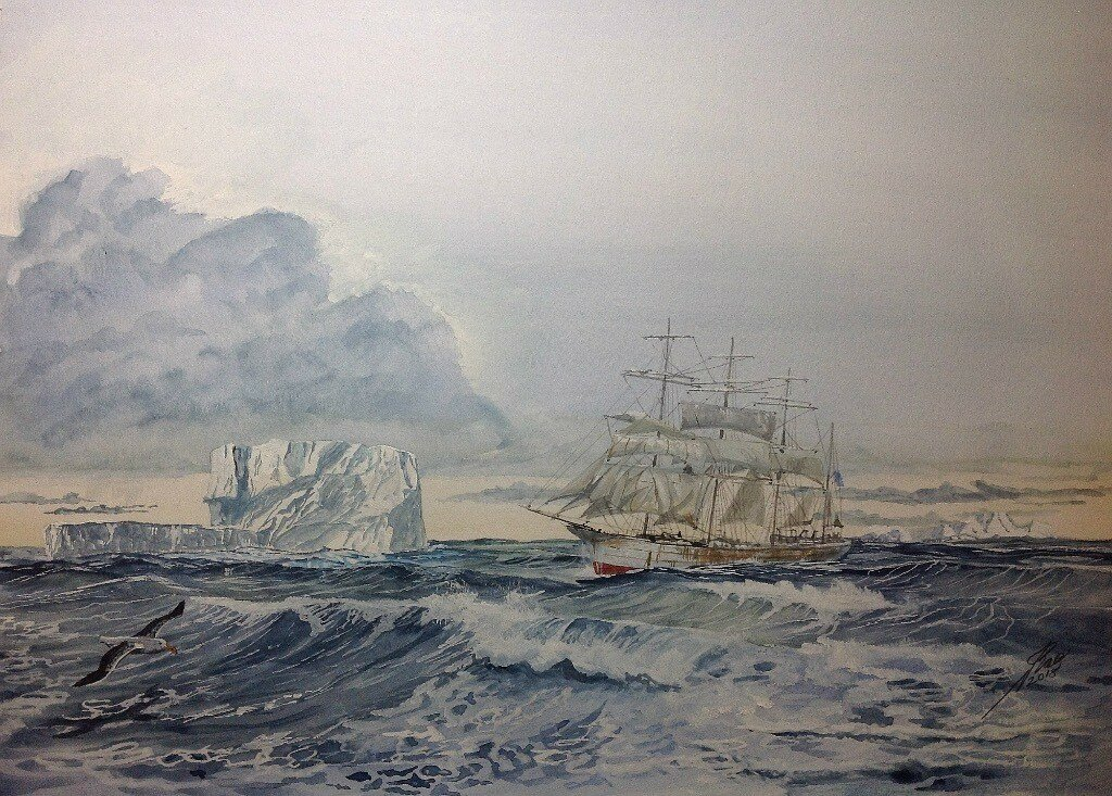 Four masted Barque Equador among the Bergs in the Southern ocean.