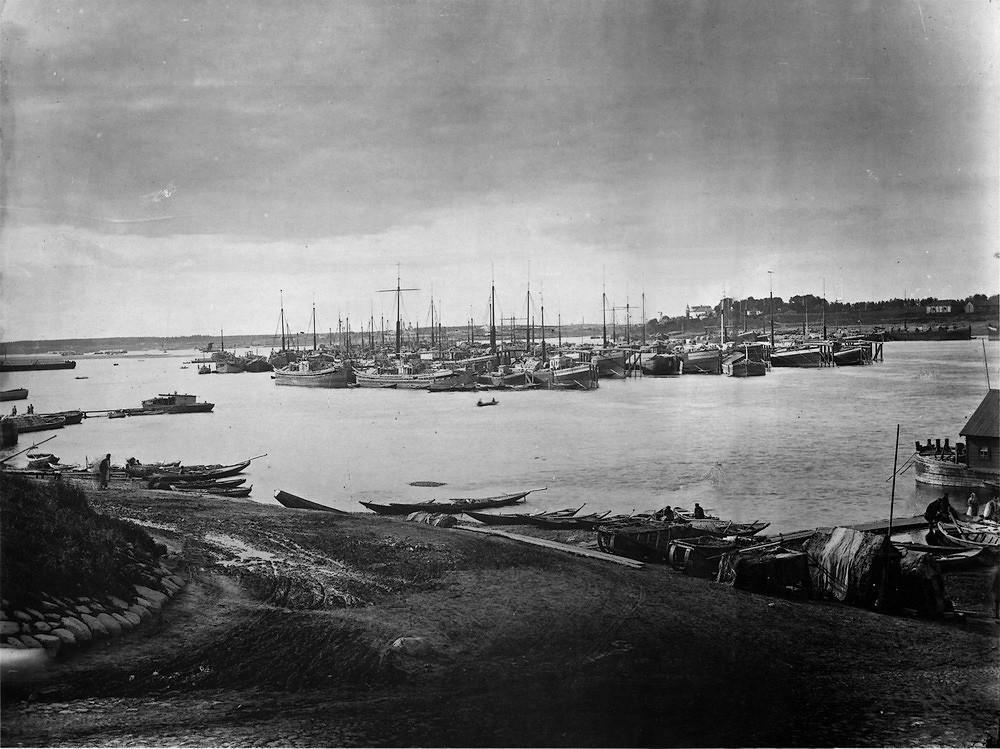 32. Караван судов на Волге под Ярославлем. 1894 г. Негатив 30×40см.