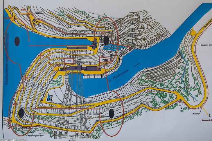 2. Колымская ГЭС имеет большое количество постоянных и временных подземных сооружений общей длиной 7