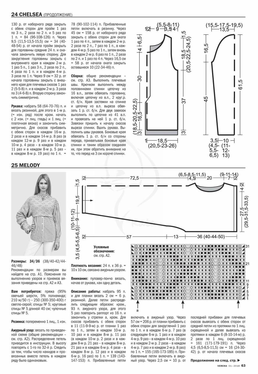Журнал верена вязание спицами 2 2018 со схемами 64