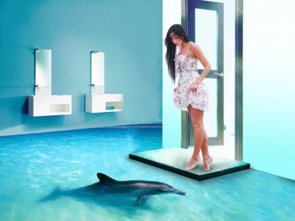 Aquatic 3D Floor in The Bathroom (5 pics)