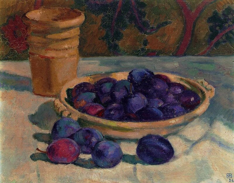 still-life-with-plums-1926.Theo van Rysselberghe.