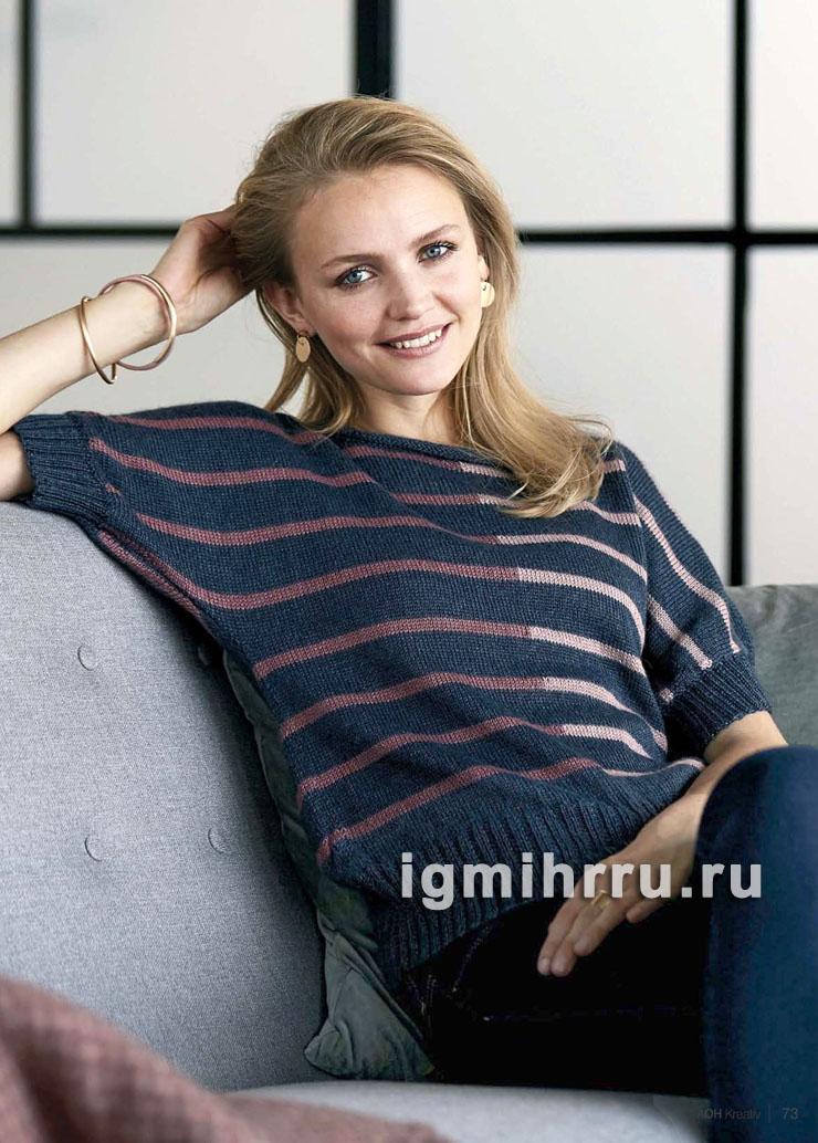 Пуловер в полоску с короткими рукавами летучая мышь. Вязание спицами