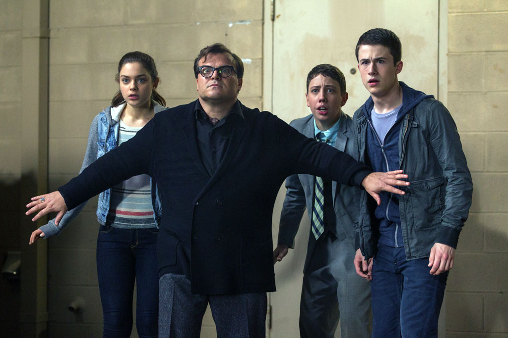 "L-r, Odeya Rush, Jack Black, Ryan Lee and Dylan Minnette star in Columbia Pictures' ""Goosebumps."" - Goosebumps"