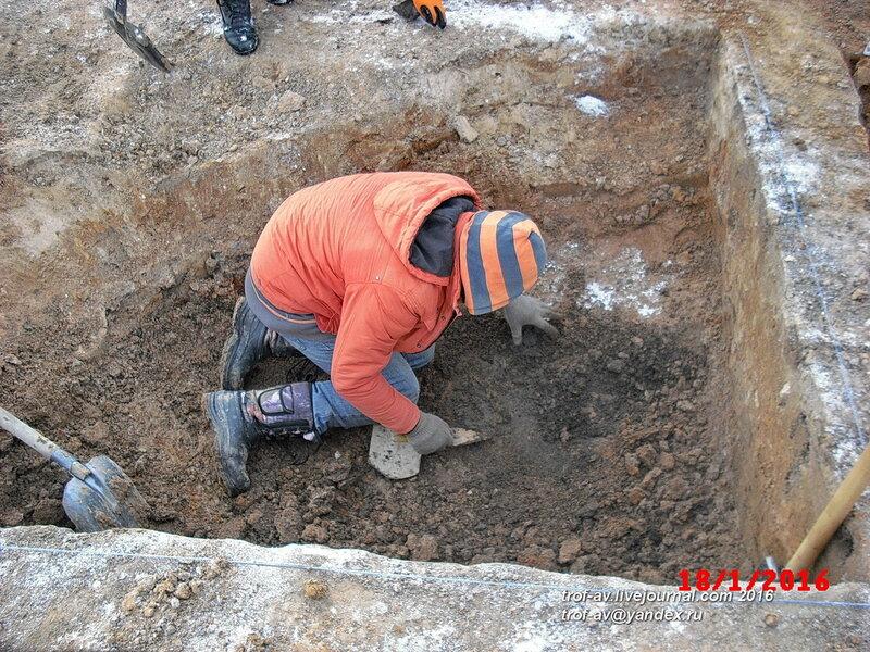 Нашли керамику средних веков, охранные раскопки в Кубинке, январь 2016