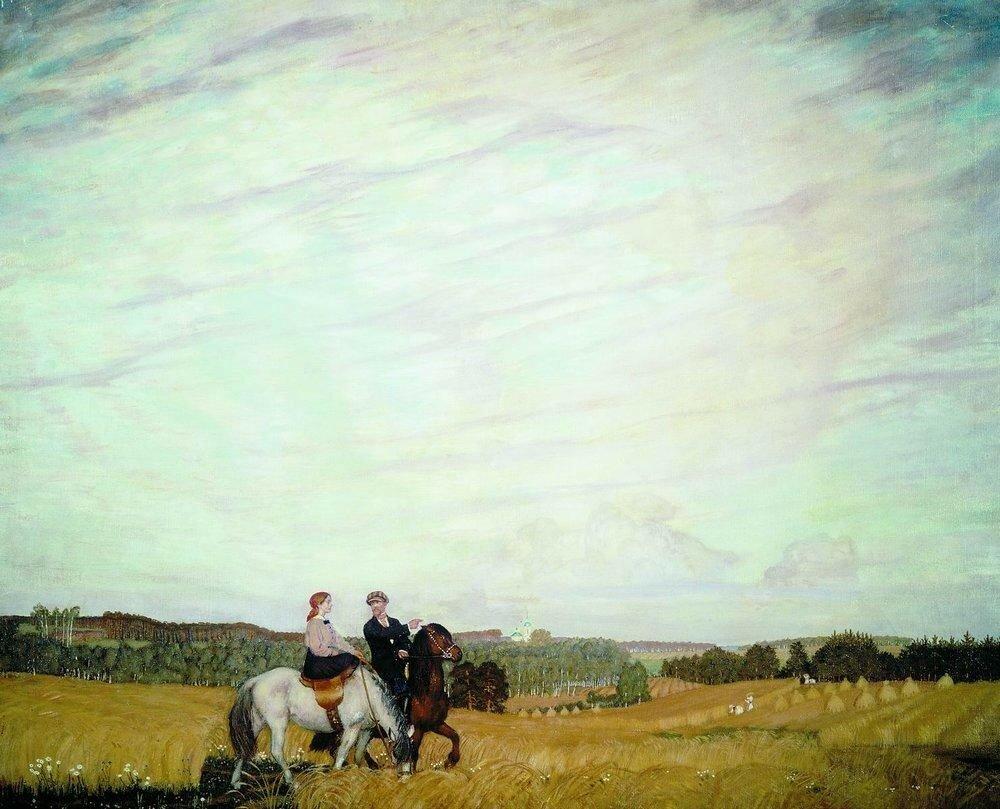 Прогулка верхом (Автопортрет с женой). 1915.jpg