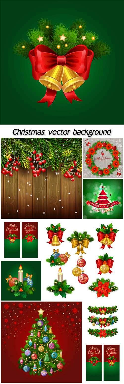 Новогодние украшения, фоны вектор
