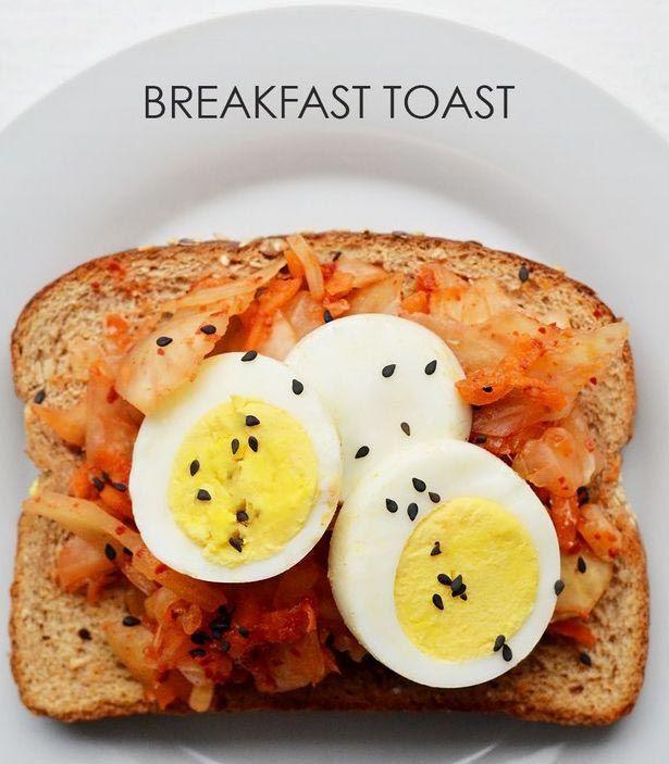 20. Кимчи + сваренное вкрутую яйцо + черный кунжут