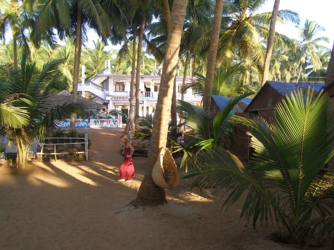 Южная часть побережья Гоа — место, где катаются на слонах прямо на пляже. Бутылку вина тут можно куп