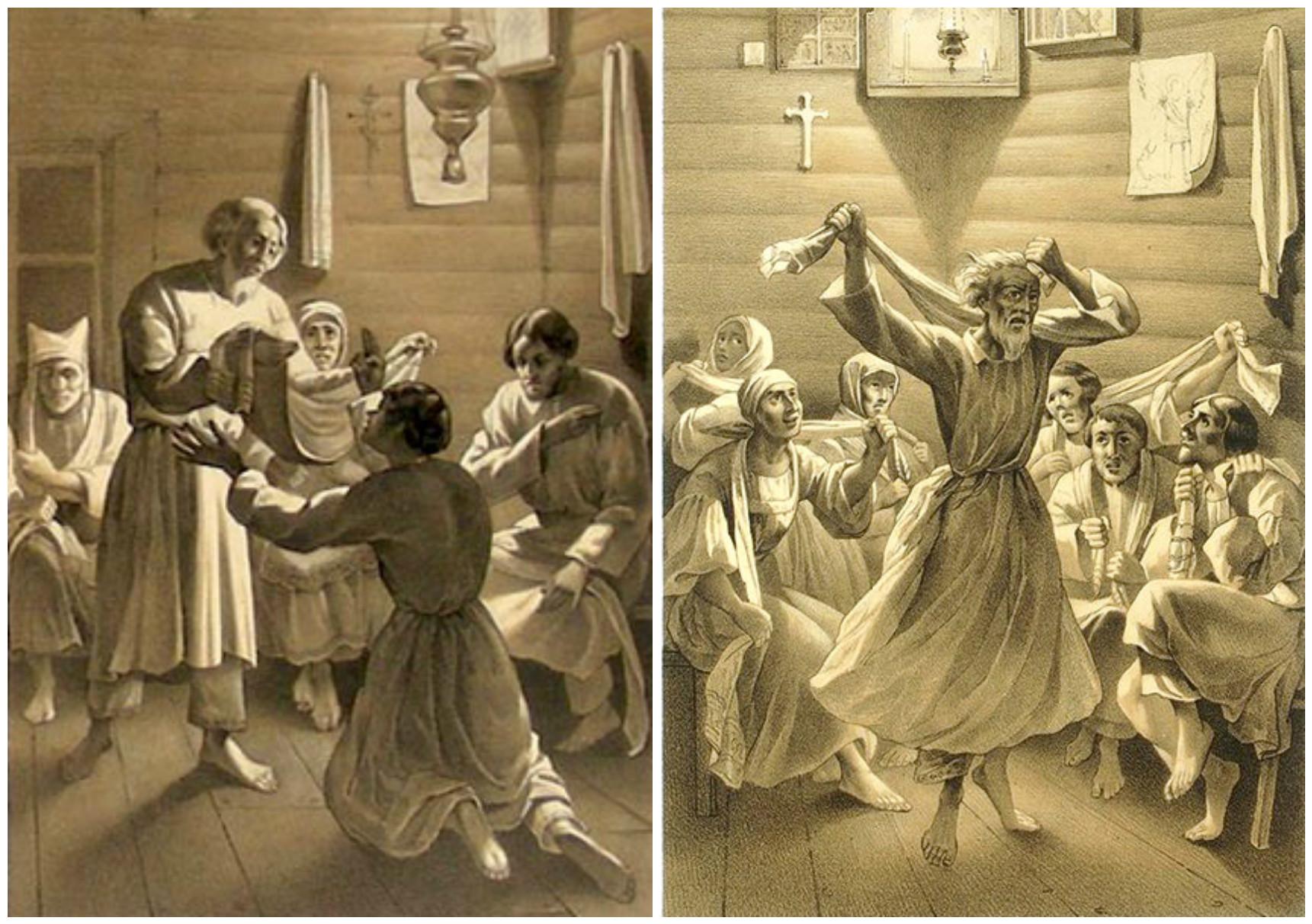 7. Привод и Радение мужчин (Радение одиночное и пророчество мущины). Литографии из Исследования о скопческой ереси Даля 1844