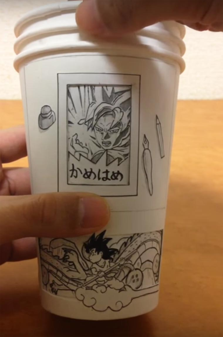 Dragon Ball Paper Cup - Japanese artist creates animated manga on paper cups