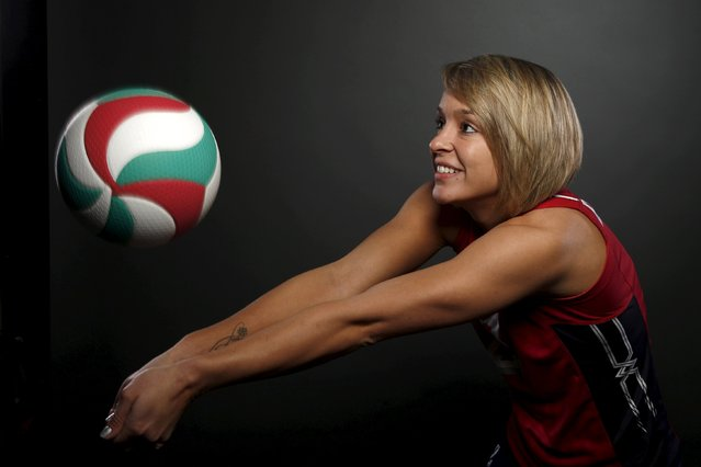 Indoor volleyball player Kayla Banwarth poses for a portrait at the U.S. Olympic Committee Media Sum