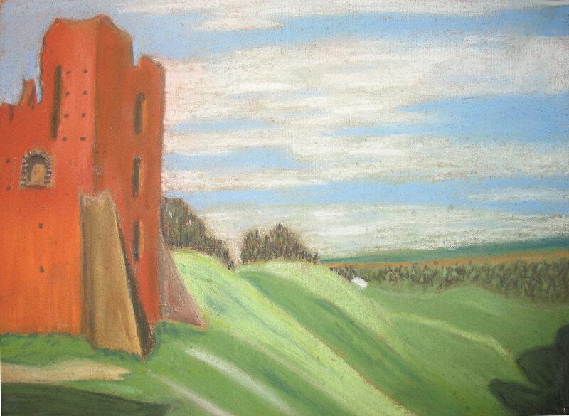 Замок в Новогрудке. Пастель, пастельные карандаши.