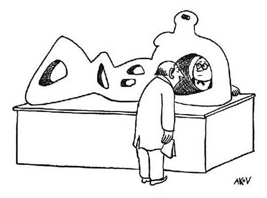 AKoV, cartoon with Henry Moore sculpture, 1947 © AKoV, New Yorker, 1 March 1947