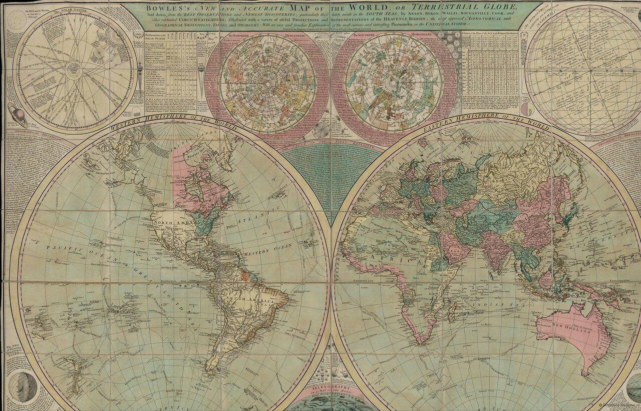 1779 - 1793. Новая и точная карта мира Боулз, или Земной шар