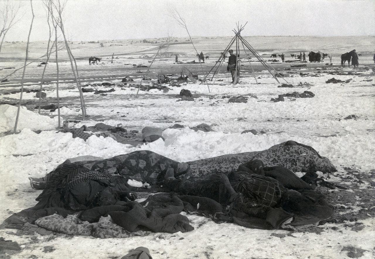 1890. Убитые женщины среди остатков индейского лагеря