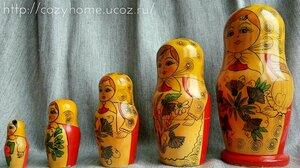 Матрешка пятиместная (1970-80гг., ручная роспись, автор неизвестен)