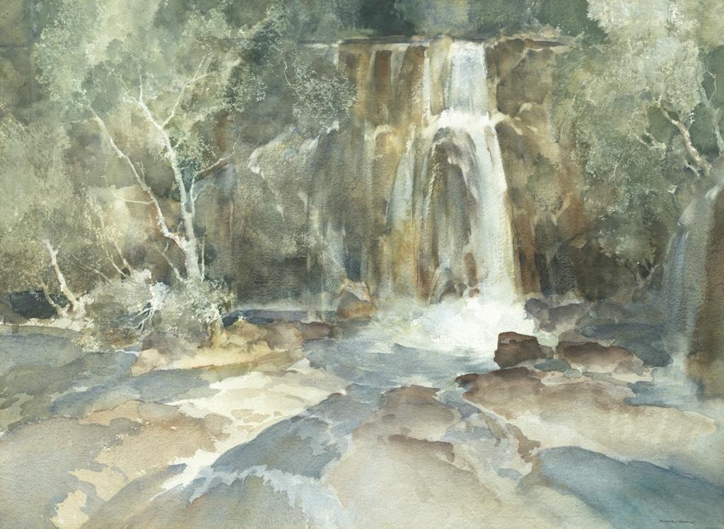 Много брызг (Many Splashes. A fall on the Geroanne, Drome, France)_50.2 x 60_акварель_Частное собрание.jpg