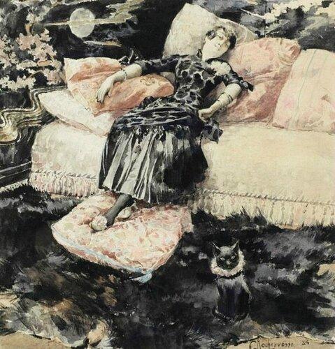 Georges Antoine Rochegrosse - La femme au chat