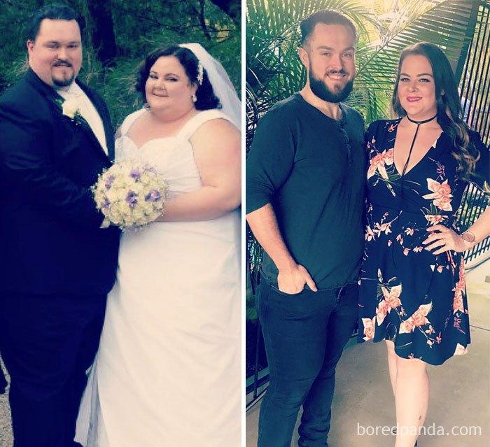 После церемонии молодожены всерьез занялись фитнесом и на двоих похудели на 177 килограммов.