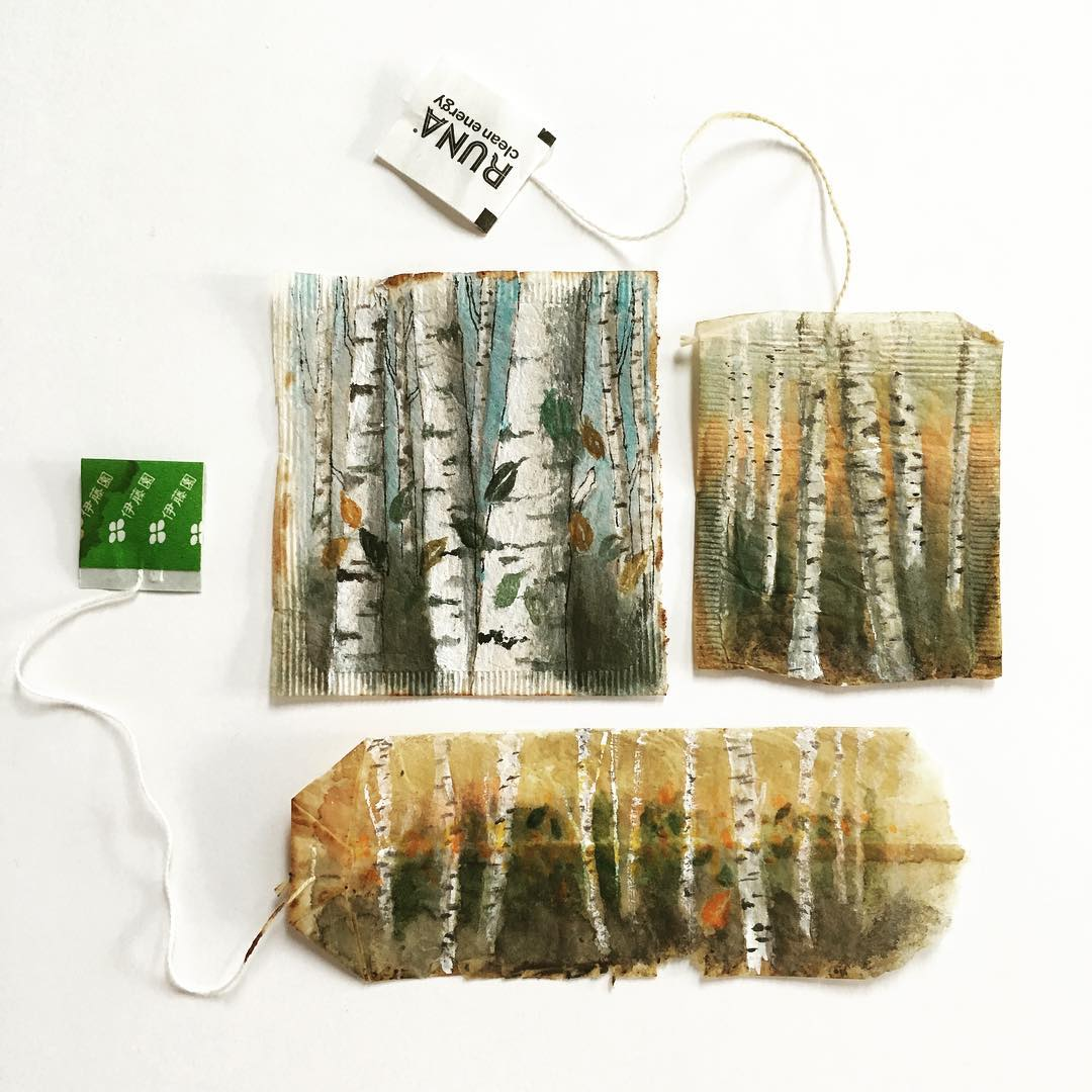 Miniature Paintings on Tea Bags by Ruby Silvious