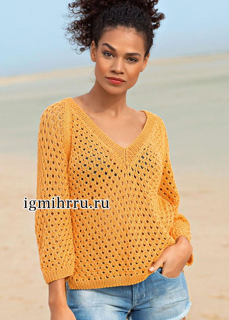 Летний оранжевый пуловер со сплошным ажурным узором. Вязание спицами