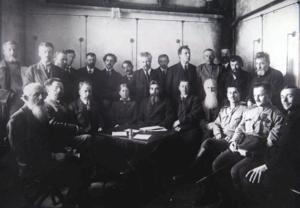 Группа членов организационного комитета Всероссийского съезда крестьянских депутатов  Петроград. Апрель 1917