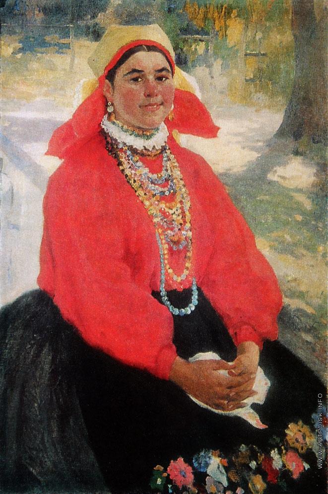 Девушка в красной кофте. 1911, Бучкури Александр Алексеевич (1870-1942)-2