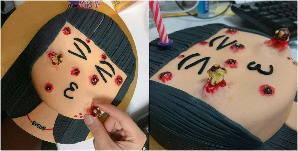 Малазийский торт с выдавливаемыми прыщами